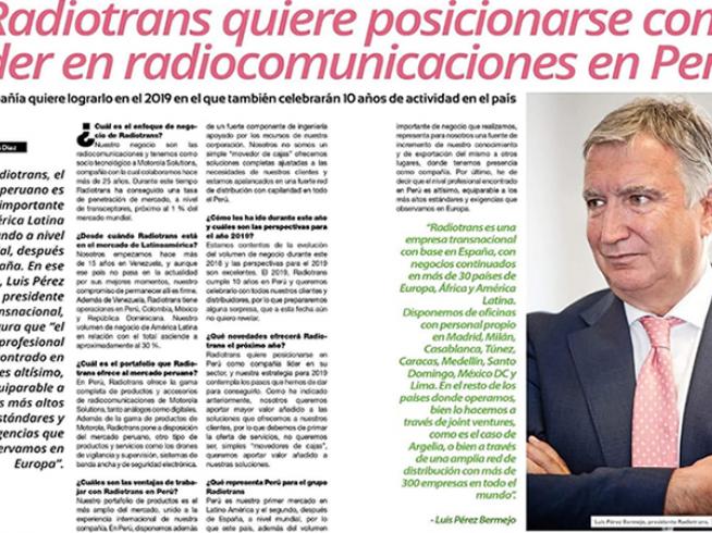 Radiotrans quiere posicionarse como líder en radiocomunicaciones en Perú entrevista a Luis Perez Bermejo.